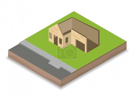 Isometric unfinished house construction with walls, windows and doors