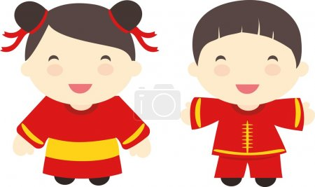 China kids in national costumes of China.