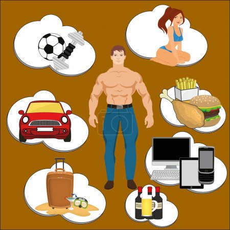 Typical man dreaming: girls, cars, sport, travel, food, computers. Dreams infographic.