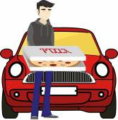 Pizza delivery Man standing with pizza in front of pizza car