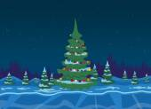 Winter forest with christmas tree