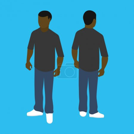Isometric black man front and back pose