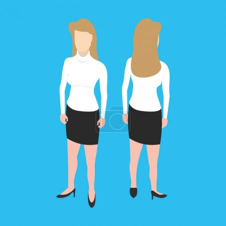 Isometric white woman front and back pose