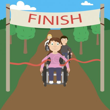 Wheelchair racer crosses the finish line first. Racing among disabled.