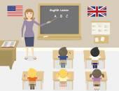 Insegnante di inglese in una classe di un vettore