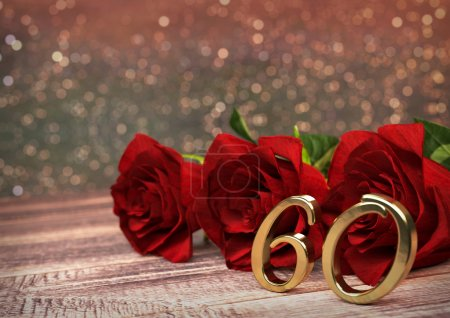 birthday concept with red roses on wooden desk. sixtieth. 60th. 3D render