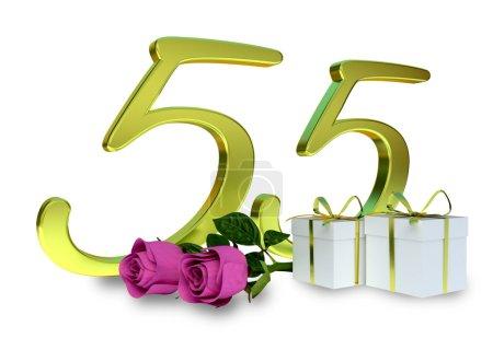 Photo pour Concept d'anniversaire avec roses roses et cadeaux - cinquante-cinquième anniversaire - image libre de droit