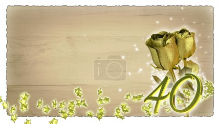 Photo for Birthday concept with golden roses and star particles- fortieth birthday - Royalty Free Image