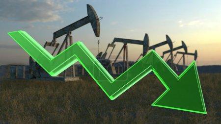 Photo pour Concept d'huile baisse - nombre de puits de pétrole dans la Prairie - image libre de droit