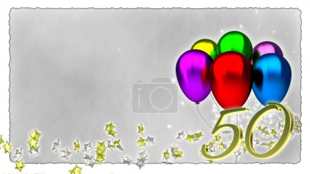 birthday concept with colorful baloons - 50th