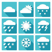 Blue square icons set of weather forecast