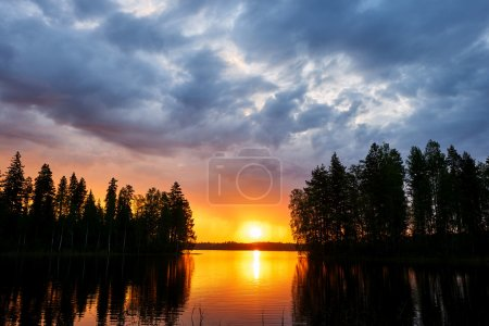 Sunset over a finnish lake