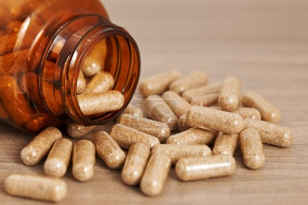 Photo for Herbal medicine in capsules - Royalty Free Image