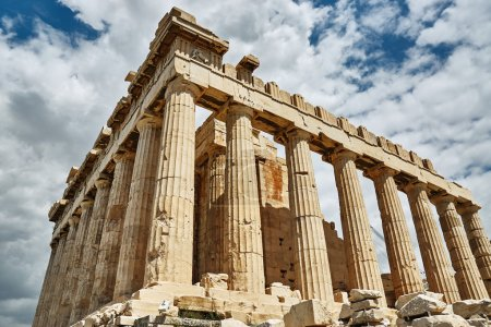 Photo for Parthenon in Athens photographed from below horizontally under a cloudy sky - Royalty Free Image