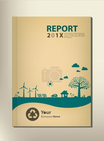 Illustration for Go green concept. Save the world vector CSR report Cover design - Royalty Free Image