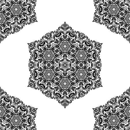 Photo pour Motif oriental floral avec des éléments damassés, arabesques et floraux. Fond d'écran abstrait sans couture et fond - image libre de droit