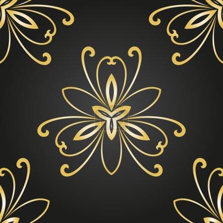 Illustration pour Motif floral vectoriel oriental avec des éléments damassés, arabesques et floraux. Fond d'écran abstrait sans couture et fond - image libre de droit