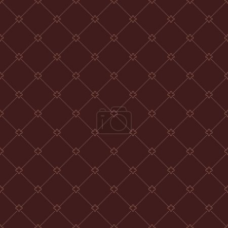Illustration for Geometric modern vector seamless brown pattern. Abstract texture with dots - Royalty Free Image