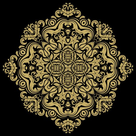 Illustration for Damask vector floral pattern with arabesque and oriental elements. Abstract traditional golden ornament - Royalty Free Image