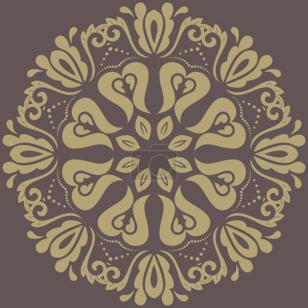 Illustration for Oriental vector pattern with arabesques and floral golden elements. Traditional classic ornament - Royalty Free Image