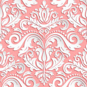 Seamless oriental ornament Fine vector traditional oriental pink and white pattern with 3D elements shadows and highlights