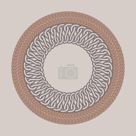 Illustration pour Cadre rond vintage pour logos. Macramé de tissage original. Tresse ronde à la main signe de marque - image libre de droit