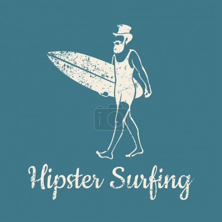 Illustration for A man in a hat with a beard and mustache brings a surfboard - Royalty Free Image