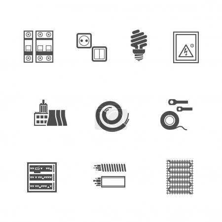 Illustration for Electrical Equipment Icons Set Pixel Perfect Flat Icons - Royalty Free Image