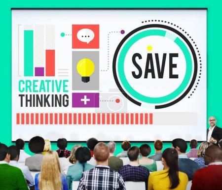 People at seminar and Save Concept