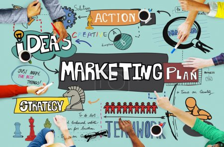 Business People Pointing on Marketing Concept