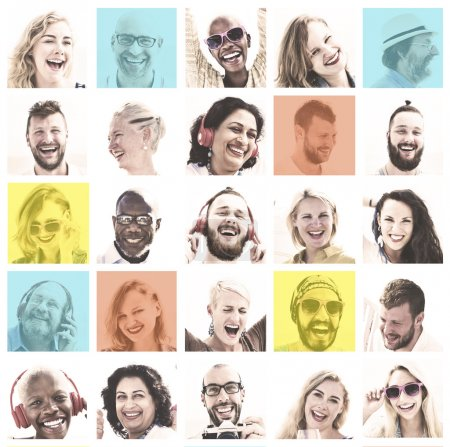 Set of People Faces Concept
