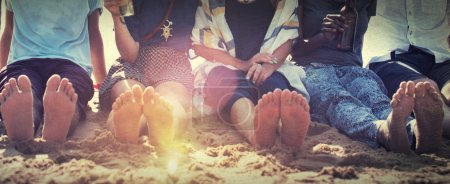 Photo for Friends at Beach and Vacation Party Chilling Concept - Royalty Free Image