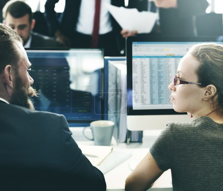 Team working with Finance stock exchange