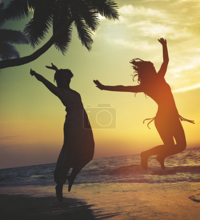 Friends having fun together on the beach