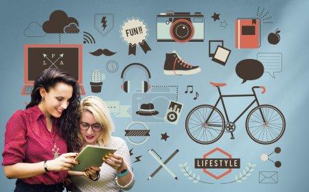 Girls surfing the internet