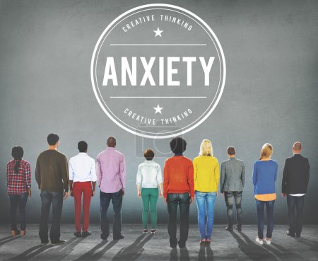 Photo for Group of Diversity People and Graphic Concept with text: anxiety - Royalty Free Image