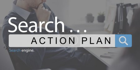 Businessman thinking with text action plan