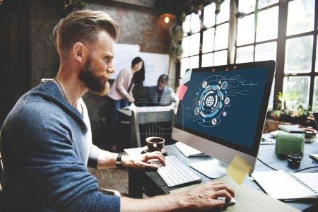 man and Digital Hud Target Symbol Concept