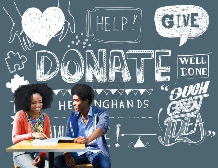 students and Donate Helping Concept