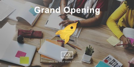 people and Grand Opening Launch Start Icon Concept