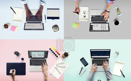 diversity people and working with laptops
