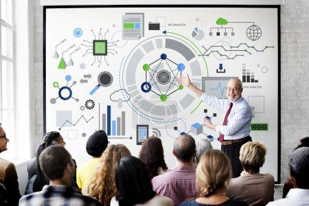 people at seminar with hi-tech