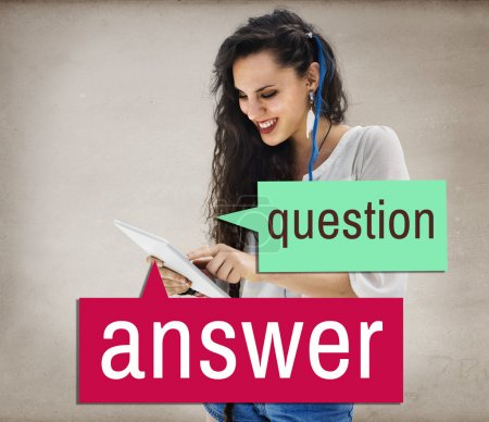 woman and question answer text concept