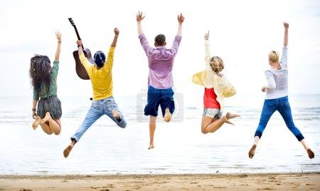 Diversity of Friends at Summer Beach Concept