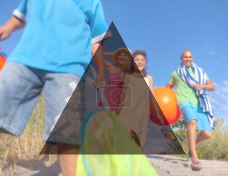 beautiful family going to beach