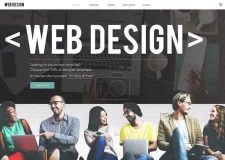 diversity friends near wall with web design