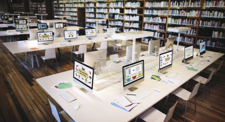 Classroom with computers for children