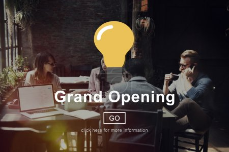 Business people and grand opening