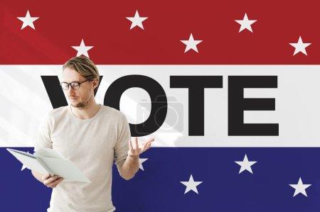 businessman working with vote