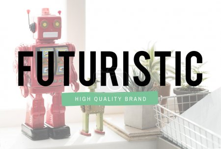 futuristic brand, Robotic Models on background